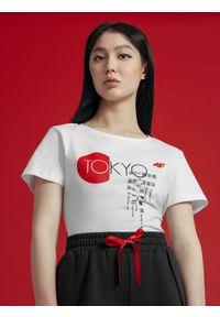 4f - T-shirt damski z kolekcji kibica FROM PAST TOFUTURE. Kolor: biały. Materiał: dzianina, bawełna. Wzór: nadruk