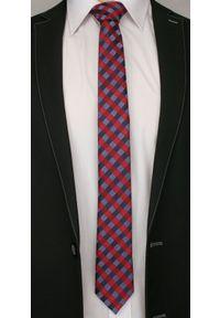 Alties - Czerwono-Granatowy Elegancki Krawat w Kratkę -ALTIES- 6 cm, Męski. Kolor: niebieski, czerwony, wielokolorowy. Materiał: tkanina. Wzór: kratka. Styl: elegancki
