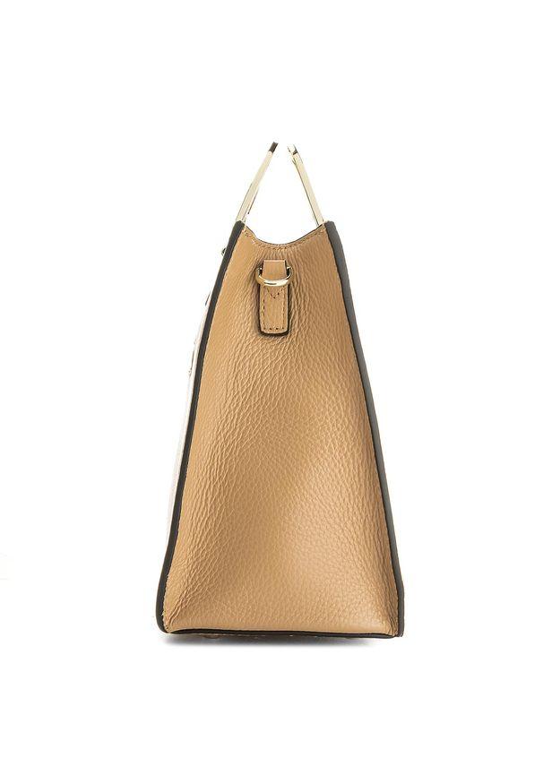 Brązowa torebka klasyczna Kazar klasyczna, z tłoczeniem