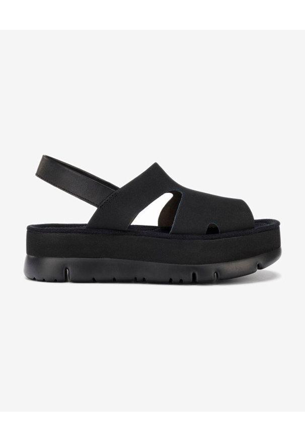 Czarne sandały Camper w kolorowe wzory, na platformie