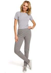 MOE - Szare Dresowe Spodnie z Dzianiny. Kolor: szary. Materiał: dresówka, dzianina