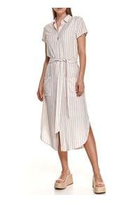 TOP SECRET - Koszulowa sukienka midi w pionowe paski, z wiązaniem w talii. Kolor: biały. Materiał: len, dzianina. Długość rękawa: krótki rękaw. Wzór: paski. Sezon: lato. Typ sukienki: koszulowe. Długość: midi