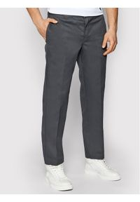 Dickies Spodnie materiałowe Straight Work DK0WP873 Szary Slim Fit. Kolor: szary. Materiał: materiał