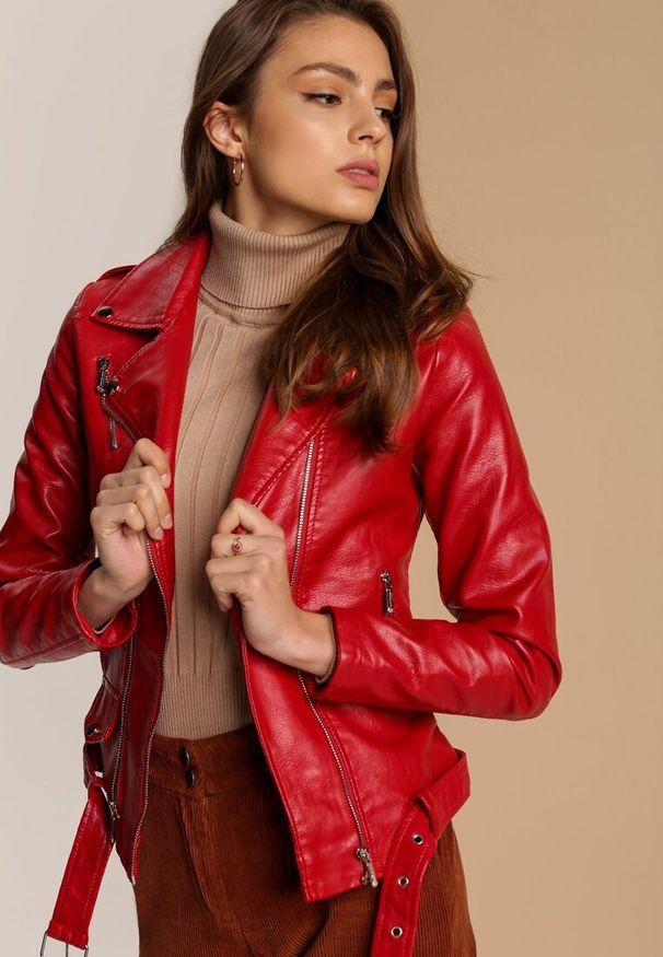 Czerwona kurtka ramoneska Renee