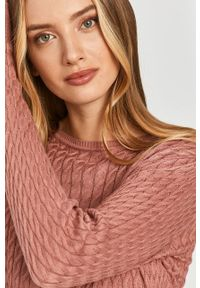 Różowy sweter Answear Lab długi, wakacyjny, z długim rękawem