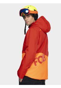 Pomarańczowa kurtka snowboardowa 4f na zimę, z kapturem