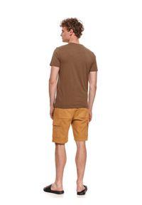 TOP SECRET - T-shirt męski z nadrukiem. Kolor: brązowy. Materiał: bawełna, tkanina. Długość rękawa: krótki rękaw. Długość: krótkie. Wzór: nadruk. Sezon: lato. Styl: wakacyjny, klasyczny