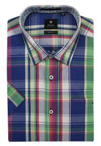 Wielokolorowa elegancka koszula Rey Jay w kolorowe wzory, krótka