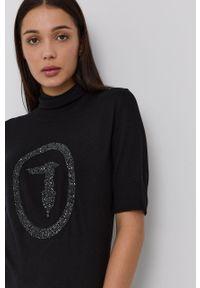 Trussardi Jeans - Trussardi - Sweter. Typ kołnierza: golf. Kolor: czarny. Materiał: dzianina. Długość rękawa: krótki rękaw. Długość: krótkie. Wzór: aplikacja