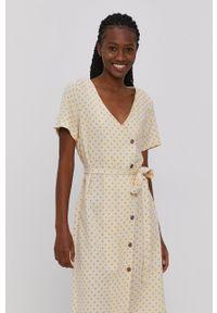 Vero Moda - Sukienka. Okazja: na co dzień. Kolor: beżowy. Materiał: tkanina. Typ sukienki: proste. Styl: casual