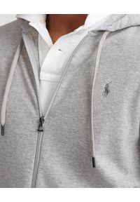 Ralph Lauren - RALPH LAUREN - Szara bluza z kapturem. Typ kołnierza: kaptur. Kolor: szary. Materiał: prążkowany. Wzór: haft