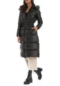 TwinSet - Czarna długa kurtka zimowa Twinset. Kolor: czarny. Materiał: poliester. Długość rękawa: długi rękaw. Długość: długie. Sezon: zima