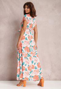 Renee - Pomarańczowa Sukienka Helet. Kolor: pomarańczowy. Materiał: materiał. Wzór: kwiaty, aplikacja. Typ sukienki: kopertowe. Styl: wakacyjny. Długość: maxi