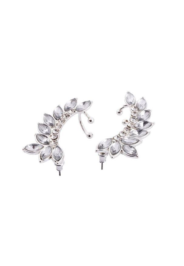 Kolczyki na uszy (2 części) bonprix srebrny kolor - biał