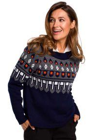 Sweter MOE klasyczny, z klasycznym kołnierzykiem
