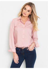 Bluzka bonprix pastelowy jasnoróżowy. Typ kołnierza: kołnierzyk klasyczny. Kolor: różowy