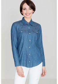 Katrus - Bawełniana Klasyczna Koszula na Zatrzaski - Granatowy. Kolor: niebieski. Materiał: bawełna. Styl: klasyczny