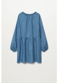 Niebieska sukienka Mango Kids mini, z dekoltem w łódkę, rozkloszowana, w grochy