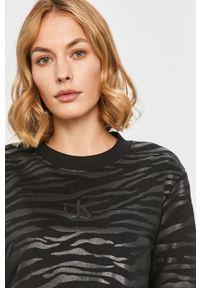 Czarna bluza Calvin Klein Jeans bez kaptura, z aplikacjami, z długim rękawem