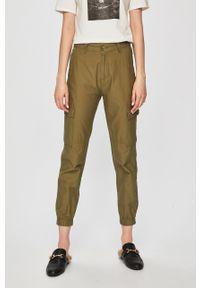 Oliwkowe spodnie materiałowe TALLY WEIJL z podwyższonym stanem