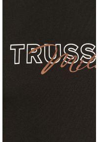 Czarny t-shirt Trussardi Jeans z nadrukiem, na co dzień
