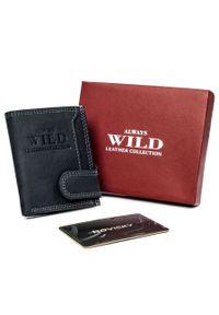 ALWAYS WILD - Etui na karty czarne Always Wild CC1-MHU-RFID-2267 BL. Kolor: czarny. Materiał: skóra