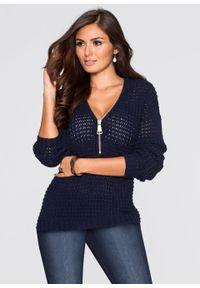 Sweter dzianinowy z zamkiem bonprix niebieski. Kolor: niebieski. Materiał: dzianina