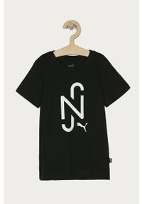 Czarny t-shirt Puma casualowy, z nadrukiem
