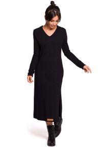 Czarna sukienka dzianinowa MOE z kapturem, maxi, prosta