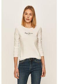 Biała bluzka z długim rękawem Pepe Jeans z okrągłym kołnierzem, casualowa, z nadrukiem
