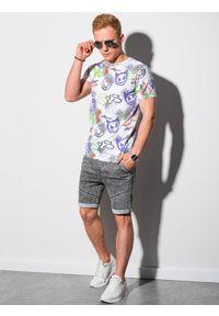 Ombre Clothing - T-shirt męski z nadrukiem S1419 - biały - XXL. Okazja: na co dzień. Kolor: biały. Materiał: bawełna, jeans, poliester. Długość: krótkie. Wzór: nadruk. Styl: casual