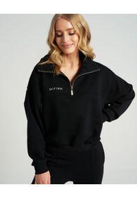 SELF LOVE - Czarna bluza Aspen z bawełny. Kolor: czarny. Materiał: bawełna. Wzór: nadruk, aplikacja. Styl: elegancki