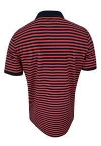 Niebieski t-shirt w prążki, na co dzień, krótki, polo