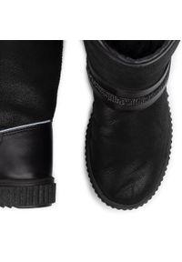Czarne kozaki Bartek z cholewką, z cholewką przed kolano, z aplikacjami