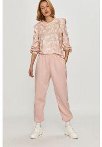 Różowa bluza ANSWEAR na co dzień, z długim rękawem, długa, bez kaptura