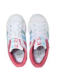 Adidas - Buty adidas - Superstar C FZ0651 Ftwwht/Hazros/Hazsky. Okazja: na co dzień. Zapięcie: sznurówki. Kolor: biały. Materiał: skóra ekologiczna, skóra. Szerokość cholewki: normalna. Sezon: lato. Styl: klasyczny, casual