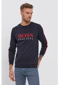 BOSS - Boss - Bluza bawełniana. Okazja: na co dzień. Kolor: niebieski. Materiał: bawełna. Wzór: nadruk. Styl: casual