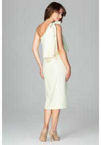 Lenitif - Koktajlowa ołówkowa sukienka na jedno ramię z falbaną żółta. Okazja: na wesele, na ślub cywilny, na randkę. Kolor: żółty. Materiał: tkanina. Typ sukienki: ołówkowe. Styl: wizytowy