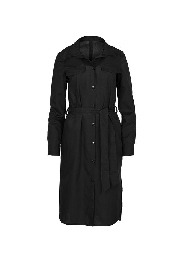 VEVA - Szmizjerka - czarna sukienka koszulowa Eternity. Okazja: do pracy. Kolor: czarny. Materiał: skóra. Długość rękawa: długi rękaw. Typ sukienki: koszulowe, szmizjerki. Styl: sportowy, klasyczny, elegancki