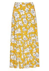 Spódnica maxi z przyjaznej dla środowiska wiskozy bonprix żółty szafranowy - czarno-biały. Kolor: żółty. Materiał: wiskoza