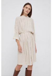 Mos Mosh - Sukienka. Kolor: beżowy. Materiał: tkanina. Typ sukienki: rozkloszowane