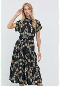 Lauren Ralph Lauren - Sukienka. Typ kołnierza: kołnierzyk stójkowy. Kolor: czarny. Materiał: tkanina. Długość rękawa: krótki rękaw. Typ sukienki: rozkloszowane