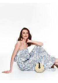 Biała sukienka TOP SECRET z nadrukiem, koszulowa, maxi