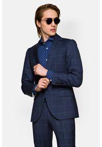 Lancerto - Garnitur Granatowy w Kratę Osaka 3. Kolor: niebieski. Materiał: tkanina, wełna, wiskoza. Wzór: gładki