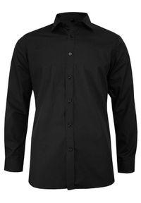 Czarna elegancka koszula Grzegorz Moda Męska długa, z klasycznym kołnierzykiem, z długim rękawem, na spotkanie biznesowe