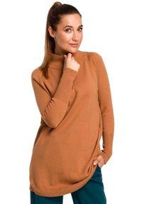 MOE - Sweter-Tunika z Półgolfem - Karmelowy. Materiał: poliester, wełna, akryl