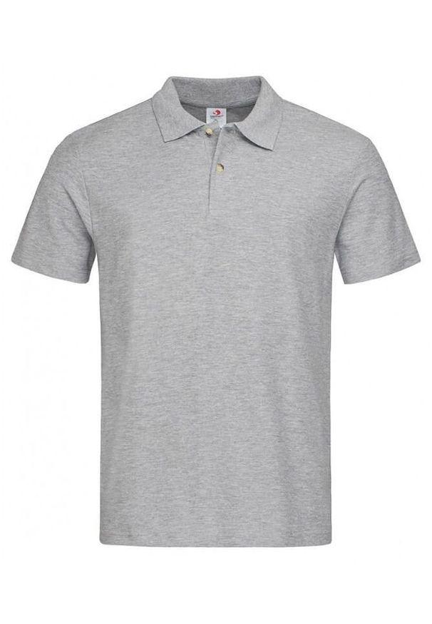 Szary t-shirt Stedman na co dzień, krótki, casualowy, polo