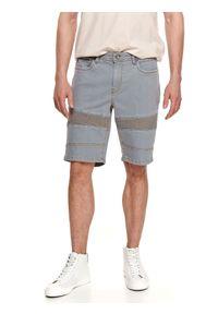 TOP SECRET - Męskie szorty jeansowe z fakturą. Kolor: szary. Materiał: jeans. Sezon: lato. Styl: wakacyjny