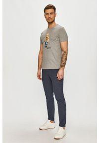 Polo Ralph Lauren - T-shirt. Typ kołnierza: polo. Kolor: szary. Materiał: dzianina. Wzór: nadruk