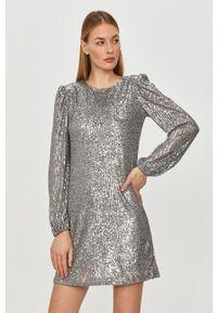 TALLY WEIJL - Tally Weijl - Sukienka. Okazja: na co dzień. Kolor: srebrny. Materiał: materiał. Długość rękawa: długi rękaw. Typ sukienki: proste. Styl: casual